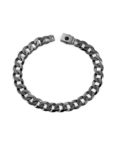 Mens Curb Chain Bracelet Finished in Black Rhodium