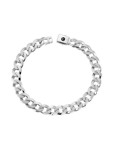Mens Curb Chain Bracelet Finished in Pure Platinum