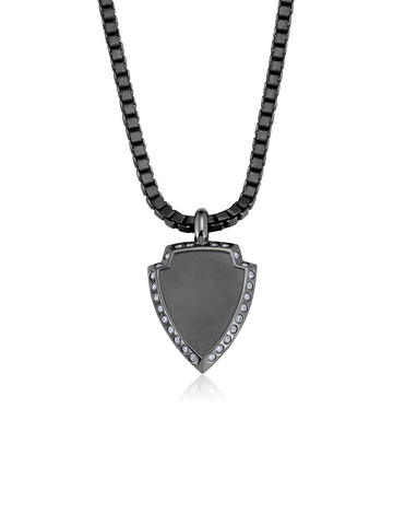 Mens Shield Necklace Finished in Black Rhodium