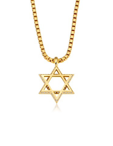 Mens Star of David Necklace Finished in 18kt Yellow Gold