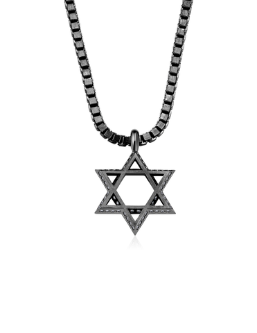 Mens Star of David Necklace Finished in Black Rhodium
