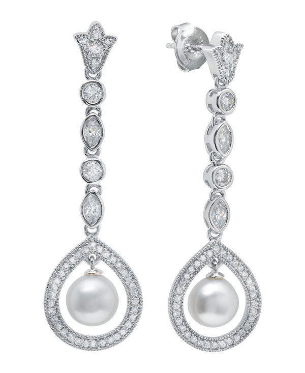 Andrew Prince by Crislu Long Pearl Drop Cluster Earrings
