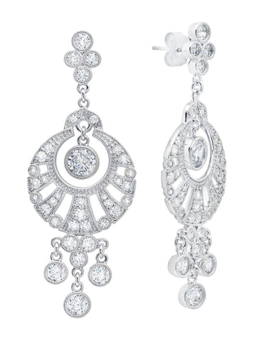 Pure platinum Fan brilliant cut Drop Earrings