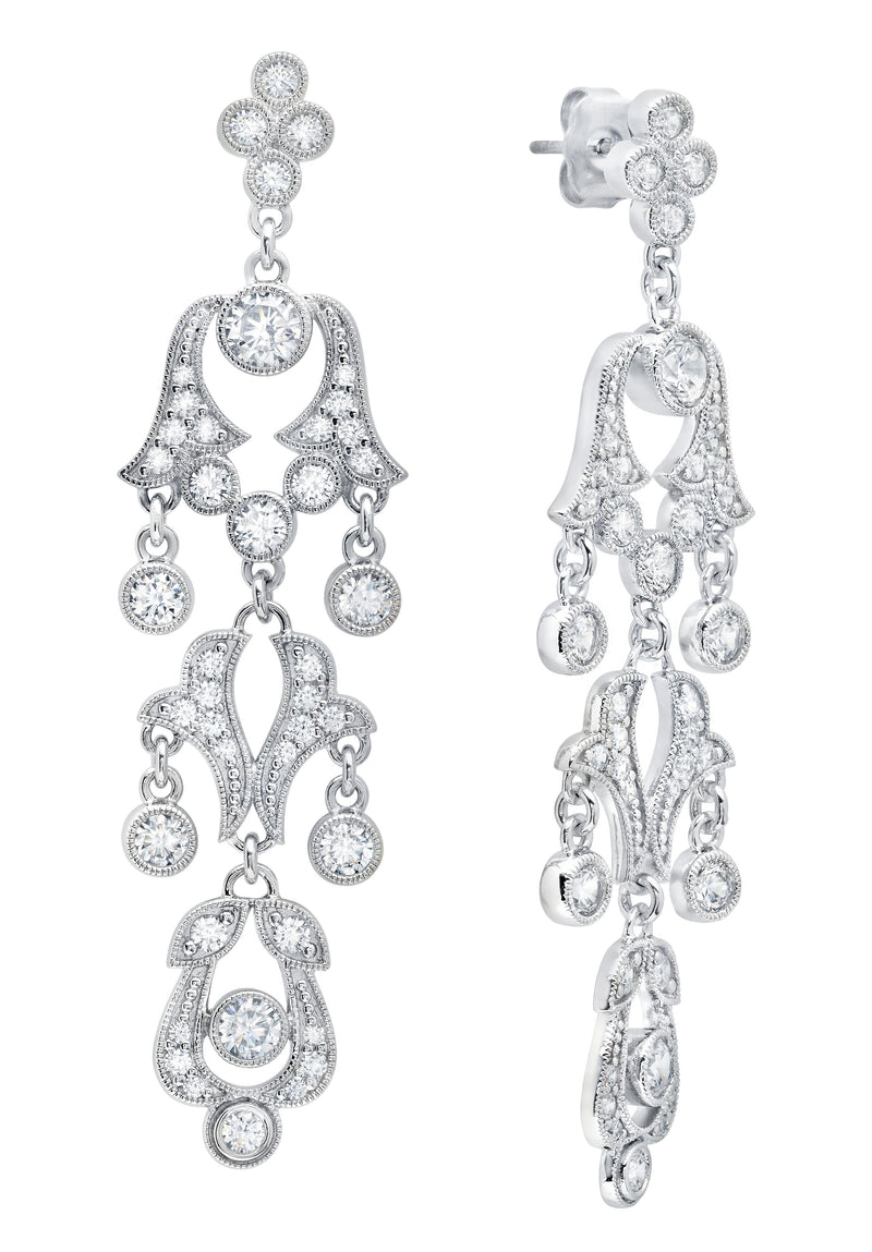 Andrew Prince by Crislu Tapered Scroll Drop Earrings