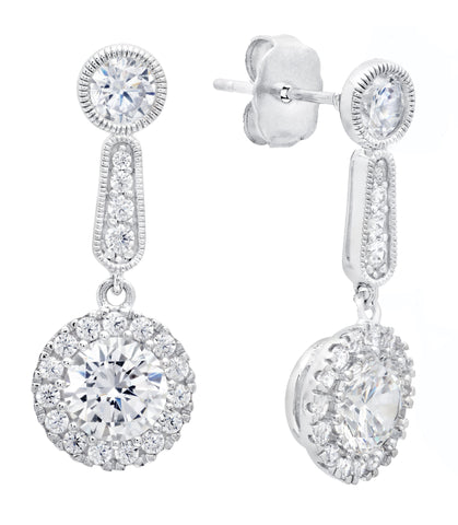 Pure platinum Brilliant Cut Cluster Drop Earrings