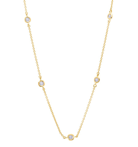 "Bezel 16"" Necklace Finished in 18kt Yellow Gold -2mm"