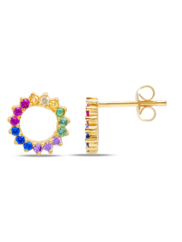 C by CRISLU - Multicolor Small Circle Studs