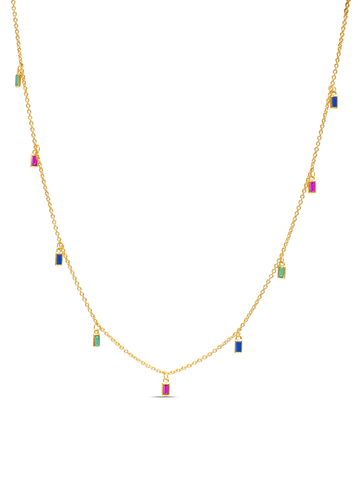 C by CRISLU - Multicolor Baguette Drop Necklace