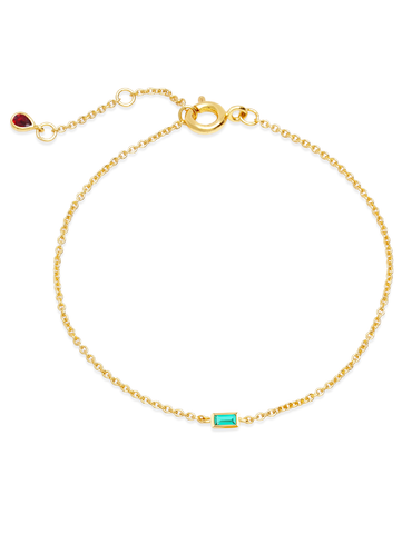 C by CRISLU - Single Emerald Baguette Bracelet