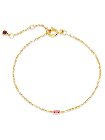 C by CRISLU - Single Ruby Baguette Bracelet