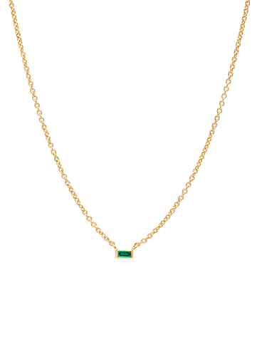 C by CRISLU - Single Emerald Baguette Necklace