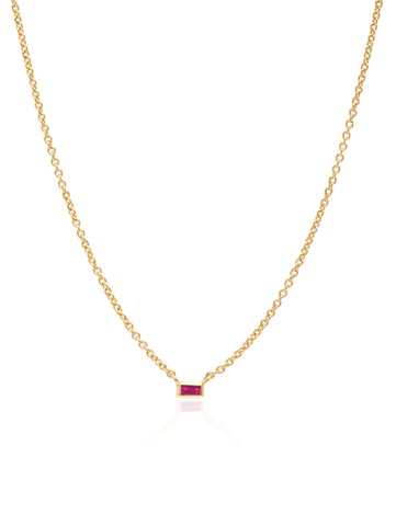 C by CRISLU - Single Ruby Baguette Necklace
