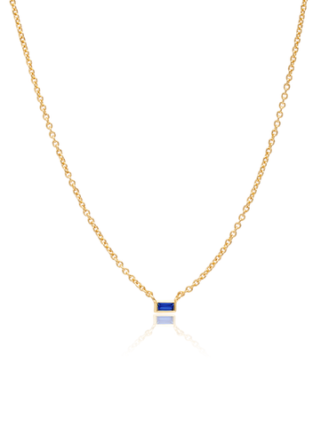 C by CRISLU - Single Sapphire Baguette Necklace