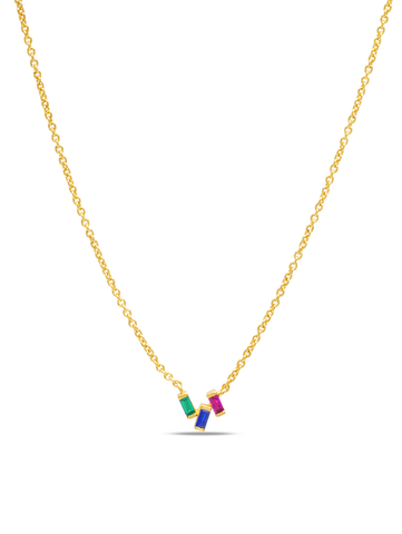 C by CRISLU - Multicolor Baguette Cluster Necklace