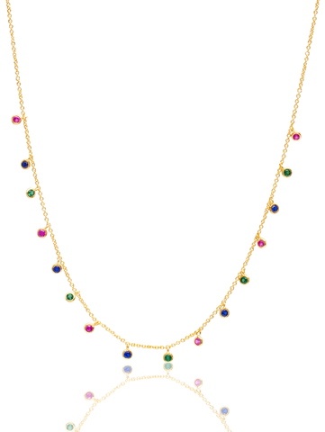 C by CRISLU - Multicolor Bezel Charm Necklace
