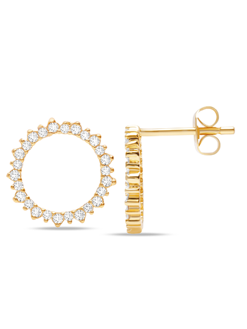 C by CRISLU - Large Pave Circle Studs