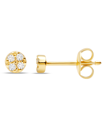 C by CRISLU - Small Pave Disc Studs