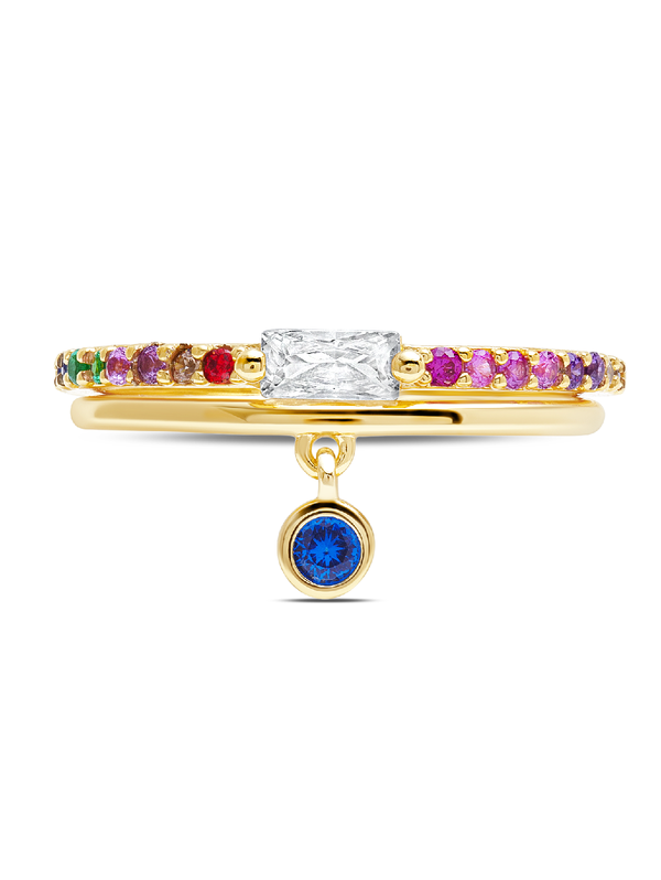 C by CRISLU - Multicolor Bezel Charm Rings