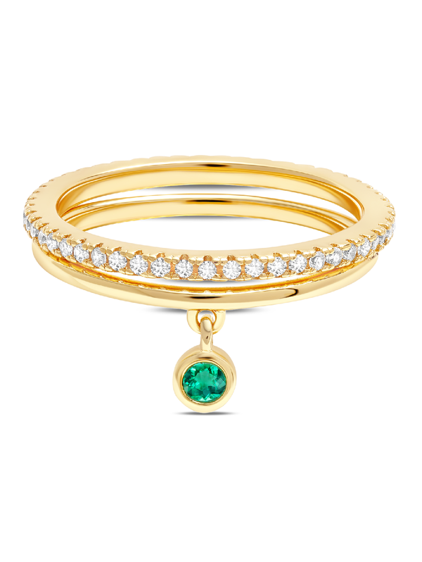 C by CRISLU - Baguette Emerald Charm Rings