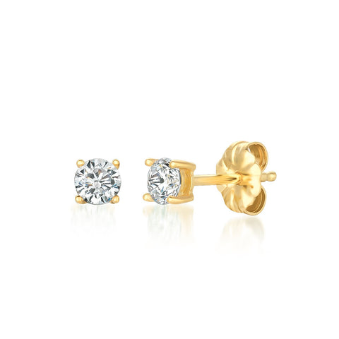 Solitaire Brilliant Stud Earrings Finished in 18kt Yellow Gold - 0.50 Cttw
