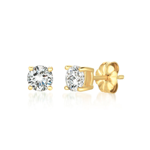 Solitaire Brilliant Stud Earrings Finished in 18kt Yellow Gold - 1.0 Cttw