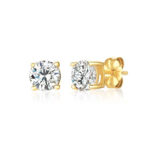 Solitaire Brilliant Stud Earrings Finished in 18kt Yellow Gold - 1.5 Cttw