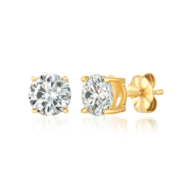 Solitaire Brilliant Stud Earrings Finished in 18kt Yellow Gold - 2.0 Cttw