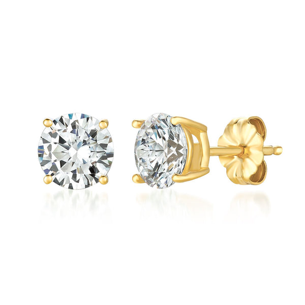 Solitaire Brilliant Stud Earrings Finished in 18kt Yellow Gold - 3.0 Cttw