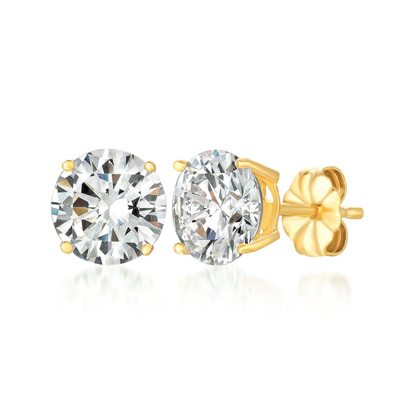 Solitaire Brilliant Stud Earrings Finished in 18kt Yellow Gold - 4.0 Cttw