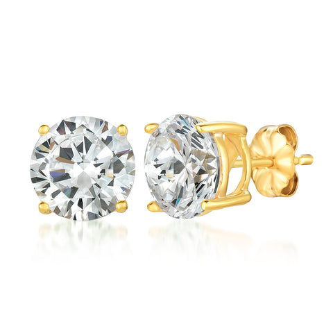 Solitaire Brilliant Earrings Finished in 18KT Gold - 6.0 Carat