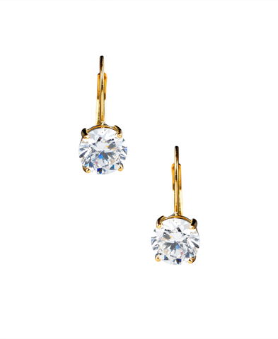 Solitaire Brilliant Cut Leverback Drop Earrings Finished in 18kt Yellow Gold