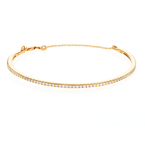 Pav?© Chain Bangle Finished in 18KT Gold