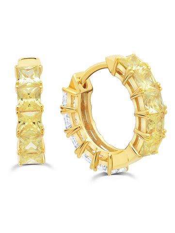Gold Duo Hoops -13 mm with Canary and Clear Stones