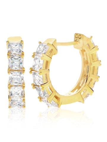 Princess Hoop Earrings Finished in 18kt Yellow Gold