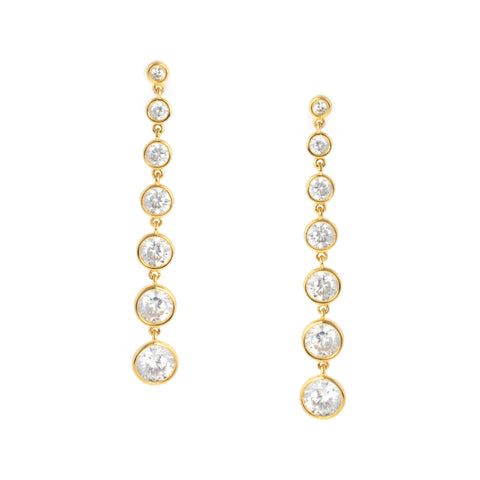 Bezel Set Drop Earrings Finished in 18kt Yellow Gold