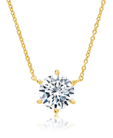 Solitaire Brilliant Necklace - 6 prong - Finished in 18kt Yellow Gold