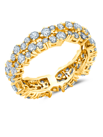 Cluster Small Eternity Ring Finished in 18kt Yellow Gold