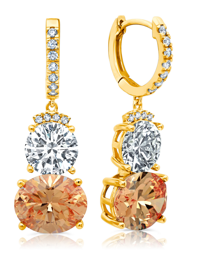 Couture Two Stone Drop Earrings With Champagne Stones in Gold