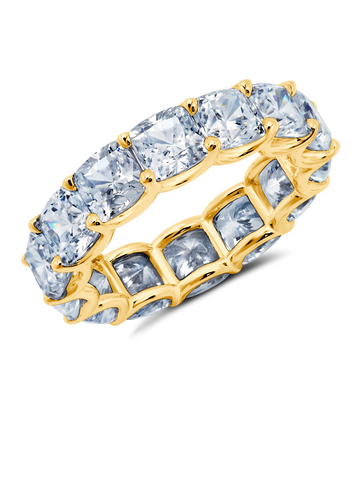 Large Cushion Cut Eternity Band Finished in 18kt Yellow Gold