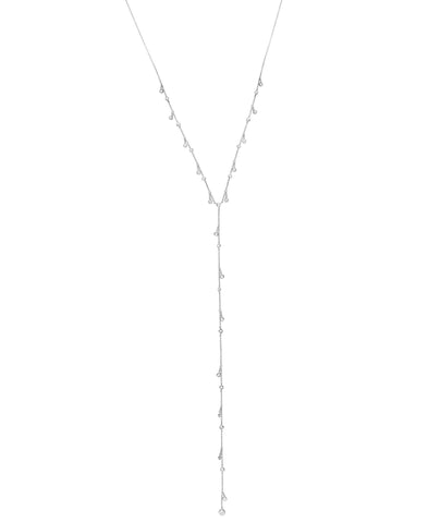 Adjustable Dangling Bezel Lariat Cubic Zirconia Y Necklace Pure Platinum