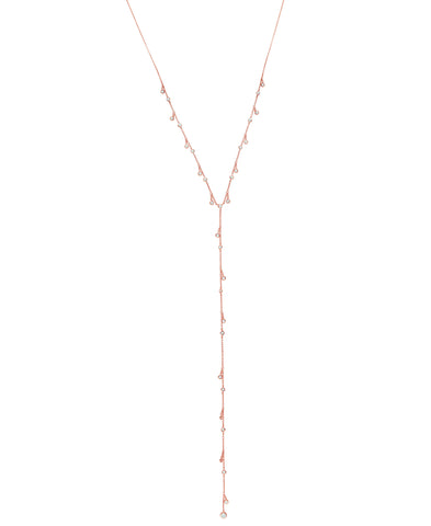 Adustable Y-Necklace Finished in 18kt Rose Gold