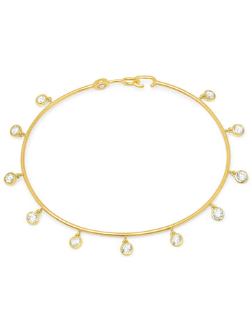 Bezel Set Charm Bangle Finished in 18kt Yellow Gold