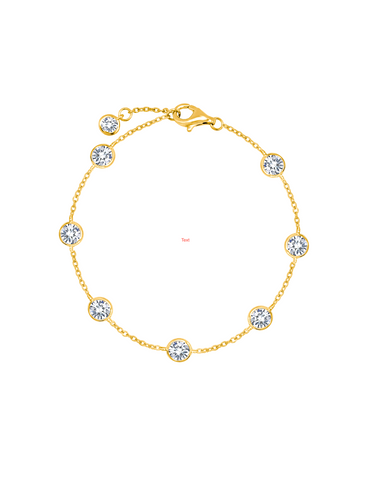 Large Bezel Station Anklet Finished in 18kt Yellow Gold