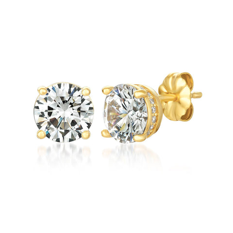 Royal Brilliant Cut Stud Earrings Finished in 18kt Yellow Gold