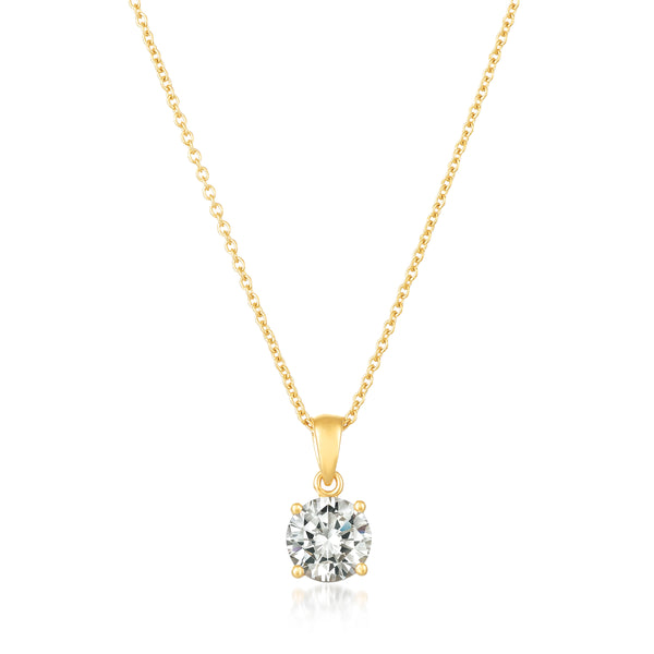 Royal Brilliant Cut Pendant Necklace Finished in 18kt Yellow Gold