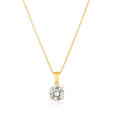 Royal Brilliant Cut Pendant Necklace Finished in 18KT Gold