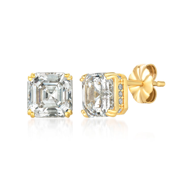 Royal Asscher Cut Stud Earrings Finished in 18kt Yellow Gold