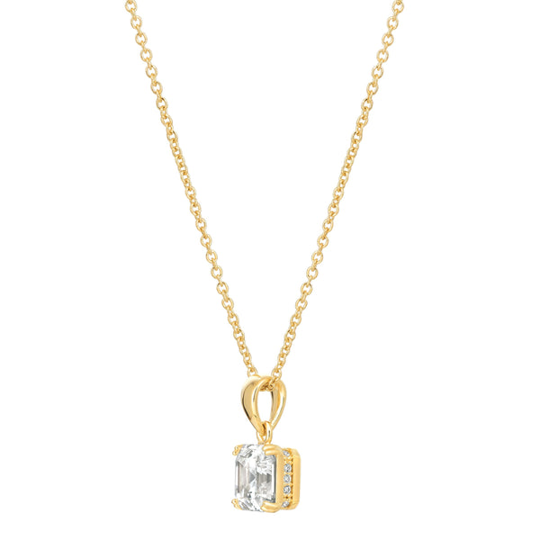 Royal Asscher Cut Pendant Necklace Finished in 18kt Yellow Gold
