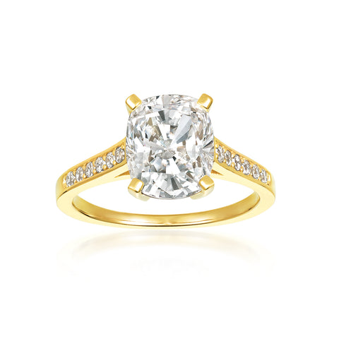 Radiant Cushion Cut Ring Finished in 18kt Yellow Gold