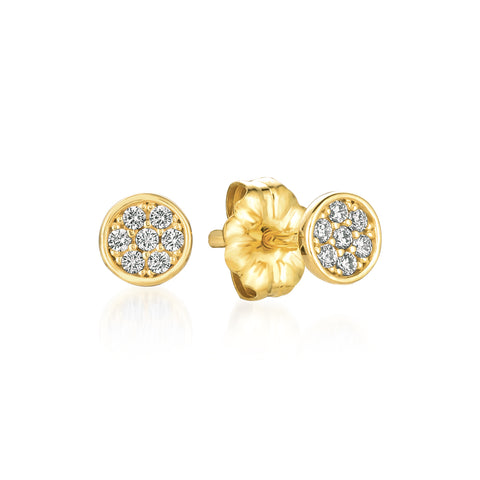 Sugar Drop Stud Earrings Finished in 18kt Yellow Gold
